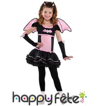 Costume de petite chauve-souris rose et noire