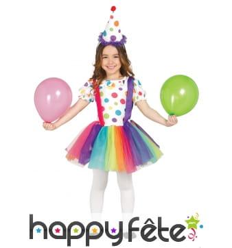 Costume de petite clown avec tutu