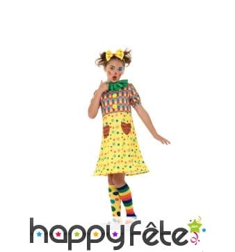 Costume de petite clown jaune à pois