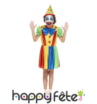 Costume de petite clown multicolore en robe