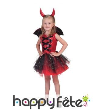 Costume de petite diablesse en tutu avec ailes