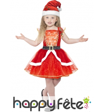 Costume de petite mère Noël pour fillette