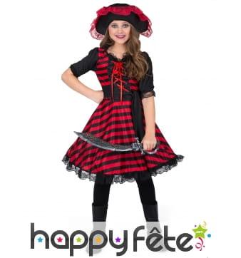 Costume de petite pirate noir rouge brodé