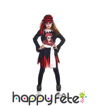 Costume de petite piratesse jour des morts