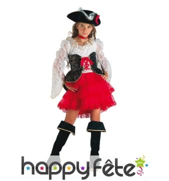 Costume de petite piratesse rouge haut en dentelle