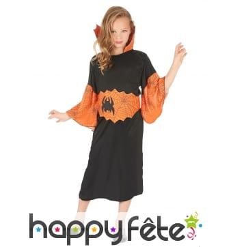 Costume de petite sorcière araignée noir orange