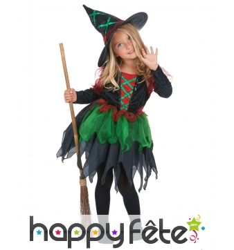 Costume de petite sorcière verte avec tulle