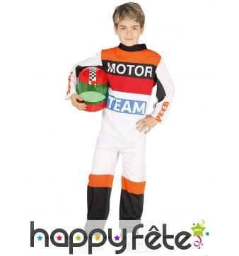 Costume de pilote pour enfant, Motor team