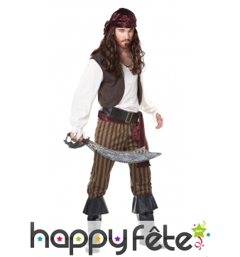 Costume de pirate avec pantalon ligné marron