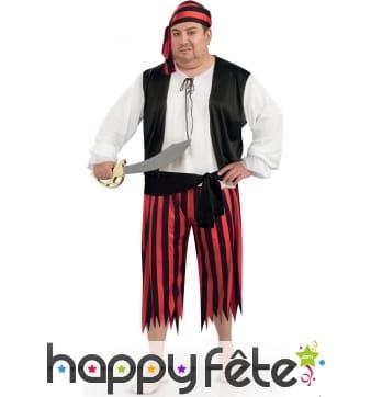 Costume de pirate avec pantalon rouge et noir