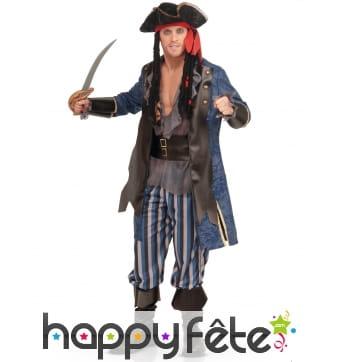 Costume de pirate bleu rayé deluxe