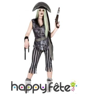 Costume de pirate des ténèbres gris pour femme