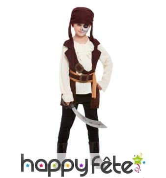 Costume de pirate marron pour garçon avec bandeau