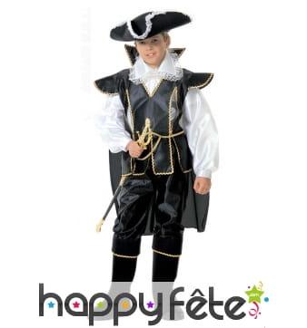 Costume de pirate noir et dentelles, enfant