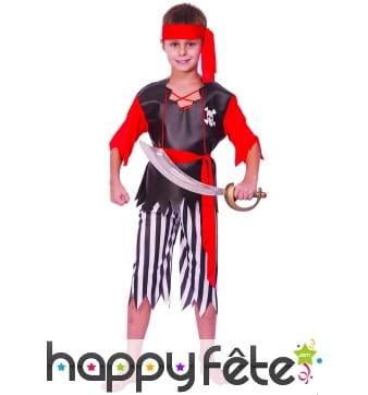 Costume de pirate, pantalon rayé pour enfant