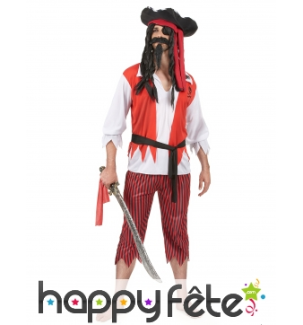 Costume de pirate rouge blanc noir pour adulte