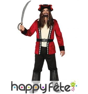 Costume de pirate rouge et noir avec crânes, homme
