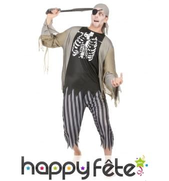 Costume de pirate squelette zombie