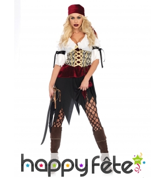 Costume de piratesse rouge velours et blanc