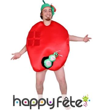 Costume de pomme mangée par un vers pour adulte