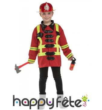 Costume de pompier pour enfant avec accessoires