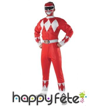 Costume de power Rangers rouge pour homme