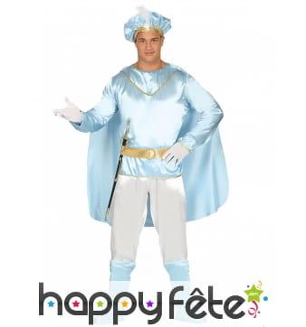 Costume de Prince Charmant effet satiné turquoise