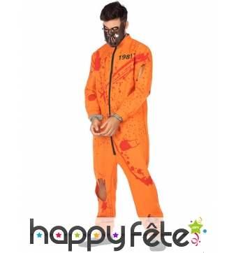 Costume de prisonnier orange ensanglanté, adulte
