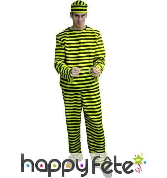 Costume de prisonnier rayé jaune