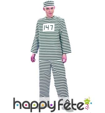 Costume de prisonnier rayer