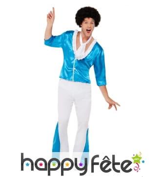 Costume disco pattes d'eph bleu et blanc, homme