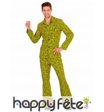 Costume disco psychedelique vert homme