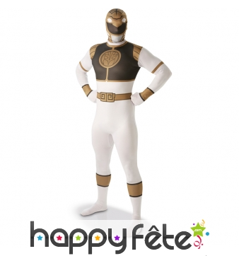 Costume du Power Rangers blanc seconde peau