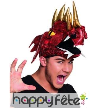 Chapeau dragon rouge cornes dorées