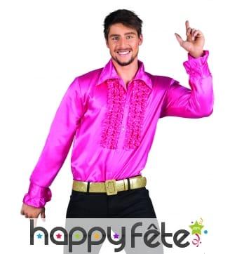Chemise disco rose satinée pour homme
