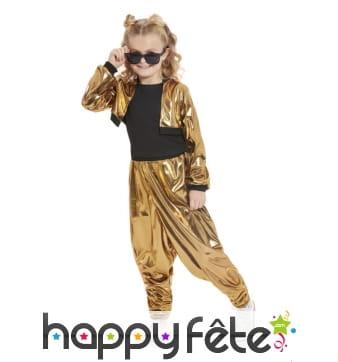 Costume de rappeur doré pour fille