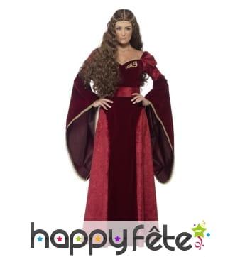 Costume de reine médiévale rouge