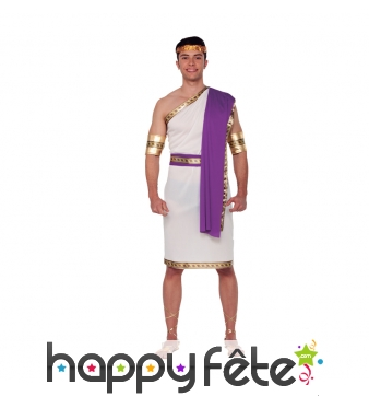 Costume de romain, toge blanche et violette