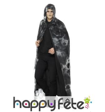 Cape de sorcier noire et grise avec capuche