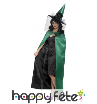 Cape de sorcière verte réversible