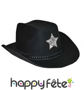 Chapeau de shérif noir uni avec étoile argentée
