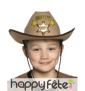Chapeau de shériff avec étoile pour enfant