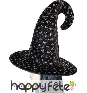 Chapeau de sorcier en velours noir