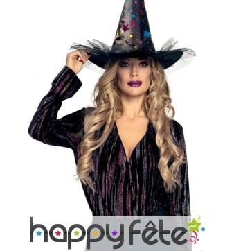 Chapeau de sorcière avec étoiles colorées, adulte