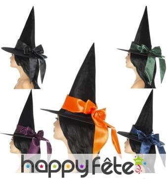 Chapeau de sorcière avec ruban coloré