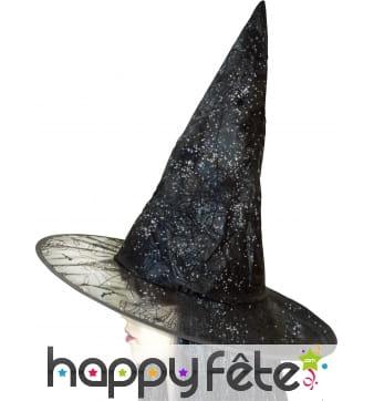 Chapeau de sorciere avec toile paillettés