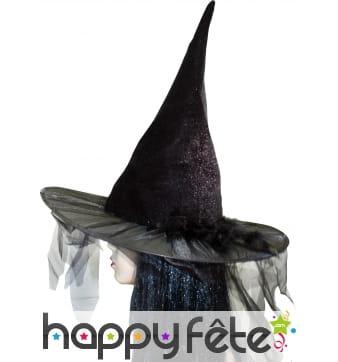 Chapeau de sorciere avec tulle et plumes noires