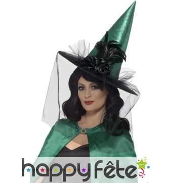 Chapeau de sorcière bleu sarcelle avec voile, luxe