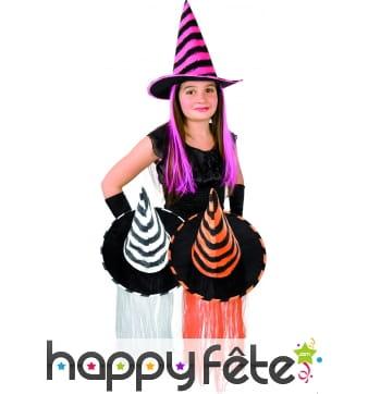 Chapeau de sorciere enfant avec cheveux colorés