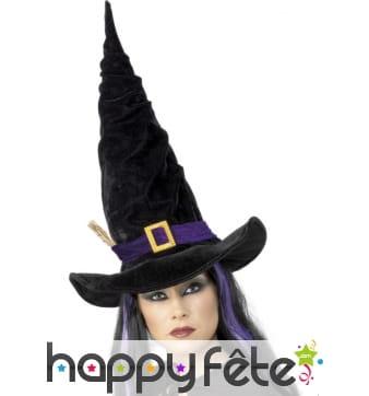 Chapeau de sorcière noir et violet